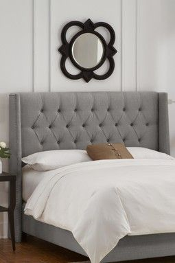 Nail Button Tufted Wingback Headboard with Pewter Nail Buttons - Linen Grey
