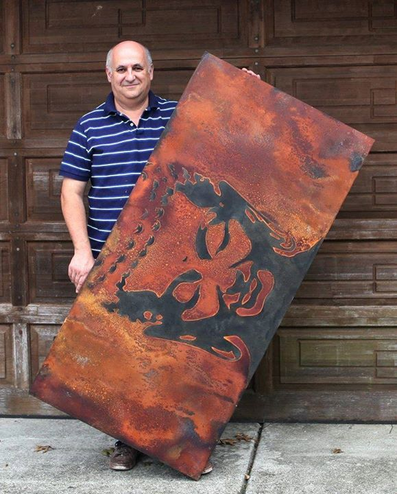 Artist Igor Turovskiy with Canvas Art created with the help of Metal Effects | Rust Finish