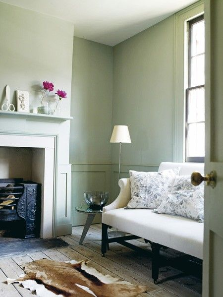 Pale Green Living Room  This beautifully restored 18th-century Huguenot house has been painted an elegant shade of duck-egg blue/green.