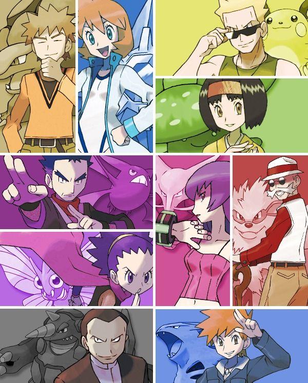 01 Líderes de Kanto: Brock, Misty, Surge, Erika, Koga/Sachiko, Sabrina, Blaine y Giovanni/Azul