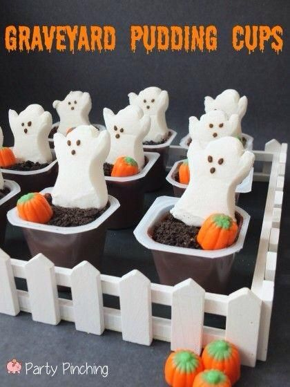 Graveyard Pudding Cups. Super fast and easy. Just pudding cups, crushed Oreos, marshmallow peeps ghost and candy ghost. Replace the Oreos with gluten free cookies and it it's gluten free