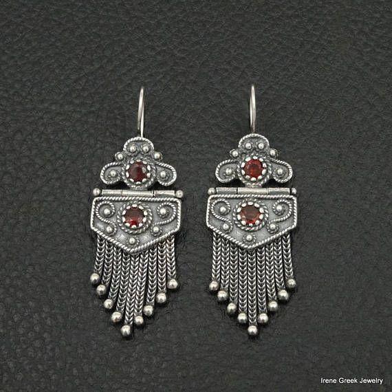 Natural Garnet Medieval Style 925 Sterling Silver Greek