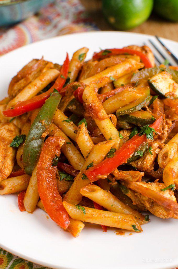 Slimming Eats Syn Free Chicken Fajita Pasta - gluten free, Slimming World and Weight Watchers friendly