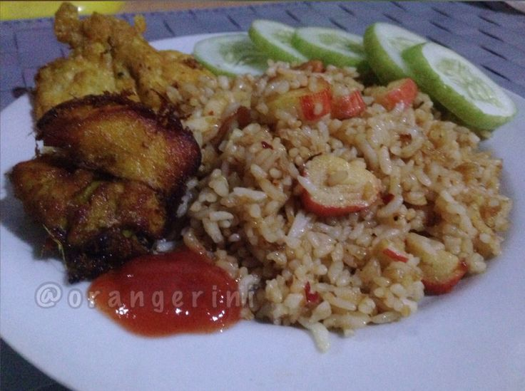 Crab stick friedrice with fried chicken & egg.. made by me