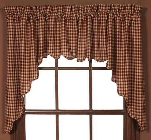 Country Valances And Swags Burgundy Check Swag Set Of 2