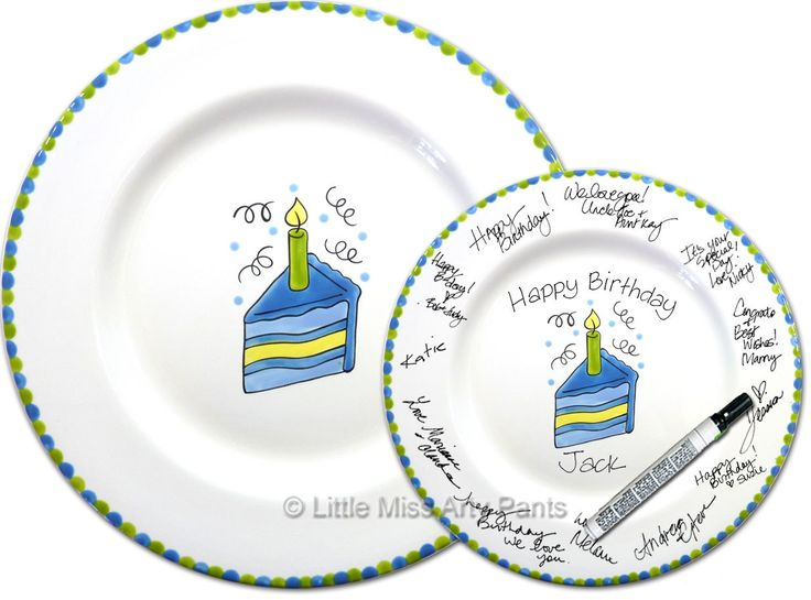 11 inch Ready to Ship - Hand Painted Signature Birthday Plate - Slice of Cake Design  sc 1 st  Pinterest & 94 best MY POTTERY images on Pinterest | Hand painted Anniversary ...