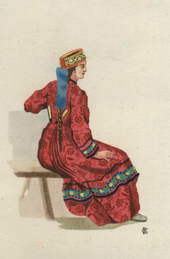 Russian traditional costume of an unmarried girl from Kostroma Province, 19-th century. Postcard, 1957, artist V. A. Sorokin. #art #folk #Russian #costume