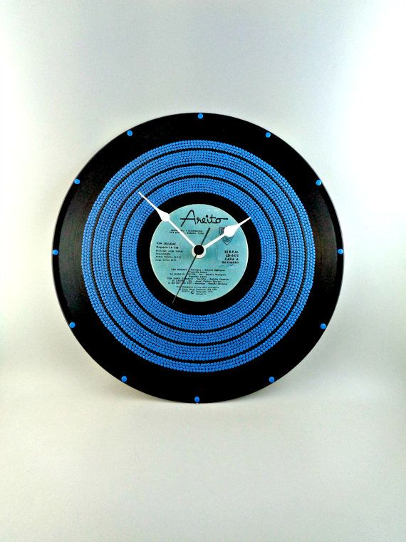 All Blue Vinyl Clock Hand Painted Upcycled Vinyl by InsaneDotting