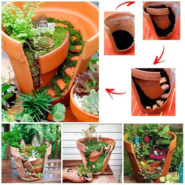 come riciclare i vasi rotti tutoria. ☀CQ #garden #gardening #backyardl