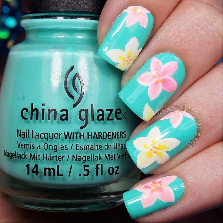 Tiffany Blue, Yellow, and Pink Tropical Floral Plumeria Nails.