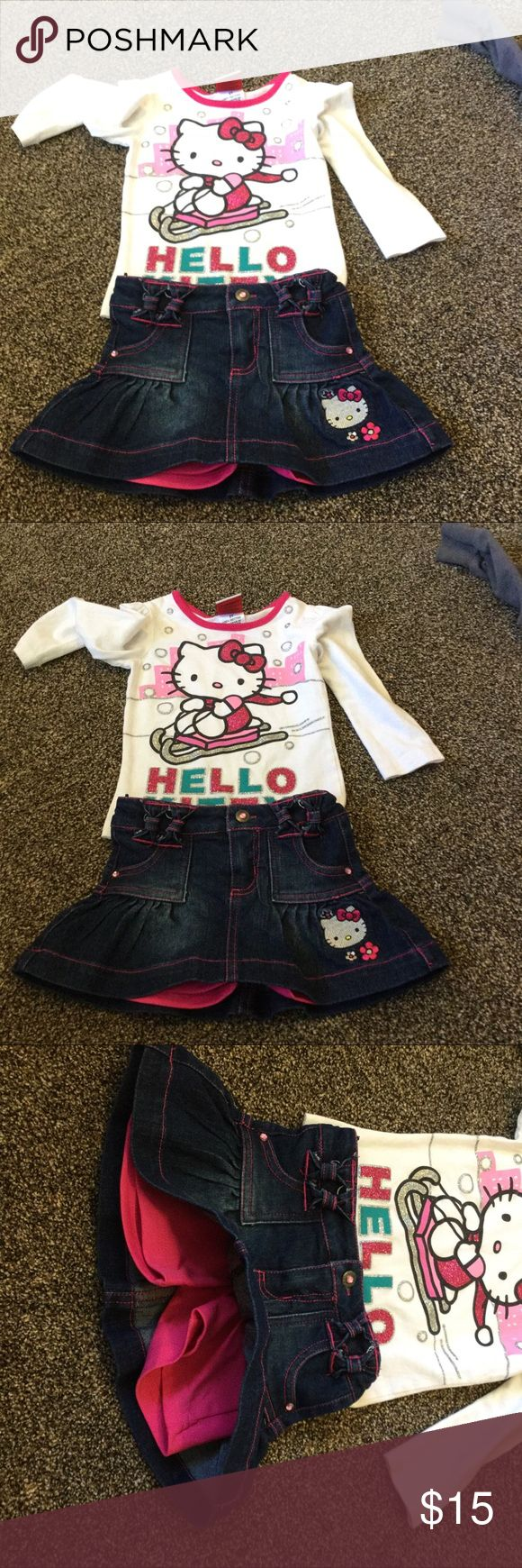 Hello kitty matching outfit size 2 T toddler Size to T toddler hello Kitty shirt and skirt that is like skorts that has little shorts with the skirt Hello Kitty Matching Sets