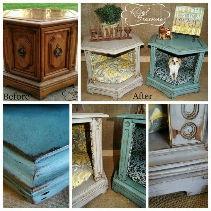 Love repurposing and this is so awesome... I have one of these tables but I don't have a small dog mine is a pit!! Would be really cool to do this though!!