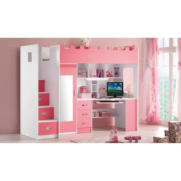 Lit Mezzanine Bureau Fille Lit Multifonction Pour Fille Lolo Rose