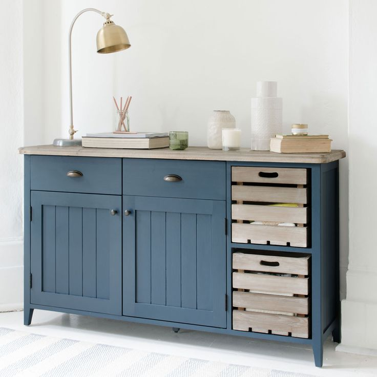 """The new inky blue shade is offset with a beautifully crafted wooden top, made of solid reclaimed timber recovered from old buildings. We love the removable apple crates for storage, adding a truly rustic touch to the overall feel."" ... Ideal Home must be talking about our NEW Cidre sideboard!   Read more at http://www.idealhome.co.uk/news/loaf-new-furniture-collection-178732#fdCFYPh5g4M9LKRr.99"