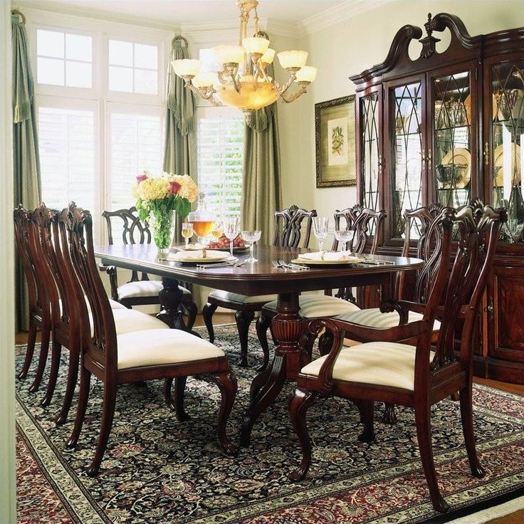 American Drew Cherry Grove 9 Piece Dining Set In Antique