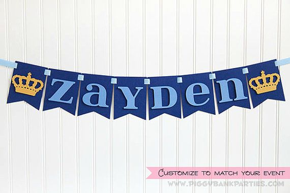 Name Banner : Single Word Garland // Birthday Sign // Prince Party // Party Decoration // Royal Crown Panel Banner // CUSTOMIZE Your BANNER on Etsy, $8.00
