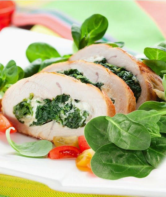Turkey chest with #spinach   food recipes for all