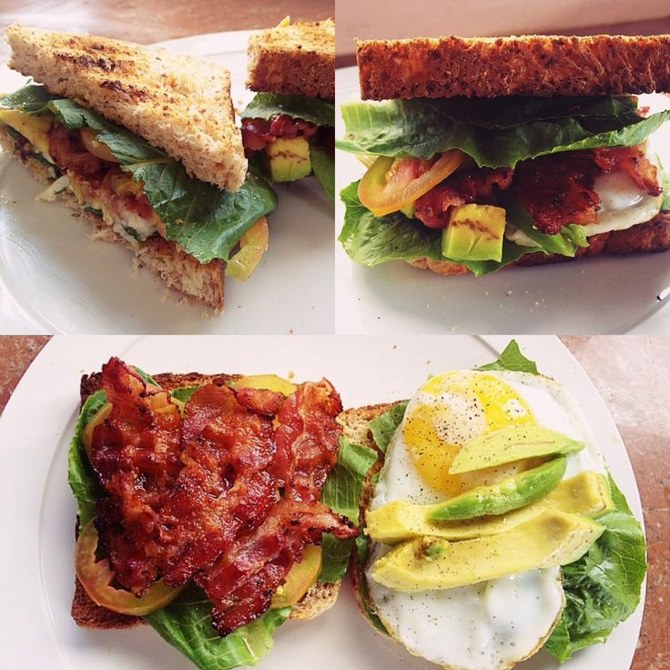 ... sandwich. Whole wheat bread, lettuce, tomatoes, bacon, fried egg and