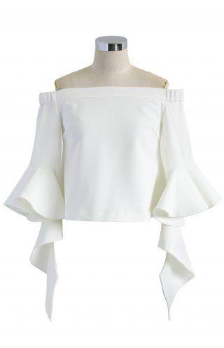 Ethereal Frilling Off-shoulder Top in White - Buyer's Pick - Retro, Indie and Unique Fashion