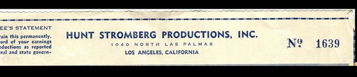 Great Uncle Hunt Stromberg Sr. 1915-1950's Movie Producer