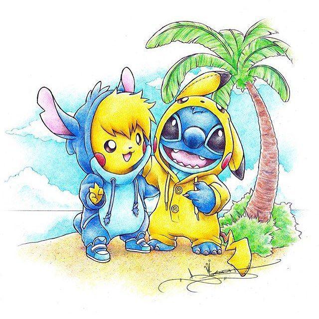 Imagens Inspiradoras Baseadas Nos Personagens Da Disney Disneyarts Disney Stitch And Pikachu Stitch Disney Disney Drawings