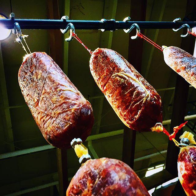 Cured Meat hanging up above at Luc's European Meats. @calgaryfarmersmarket #farmfresh #keepitlocal #sixfootcanasian #6FCA #yyc