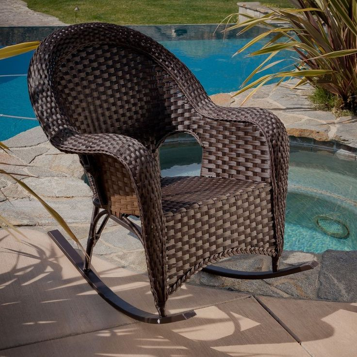 Wicker Outdoor Rockers Patio Furniture Weather Resistant Rocking Chair Brown…