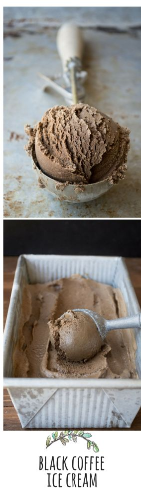 Freshly churned black coffee ice cream -- This ice cream is about as black as you can get it without leaving out the cream altogether, in which case you wouldn't have ice cream.