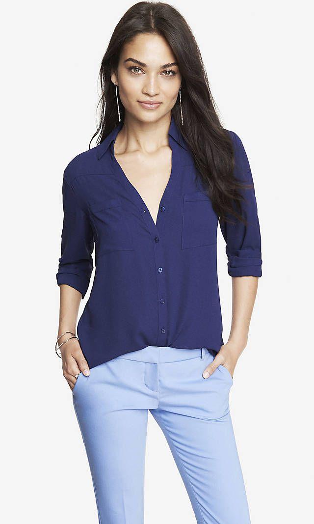 Original Fit Convertible Sleeve Portofino Shirt from EXPRESS – Royal Blue