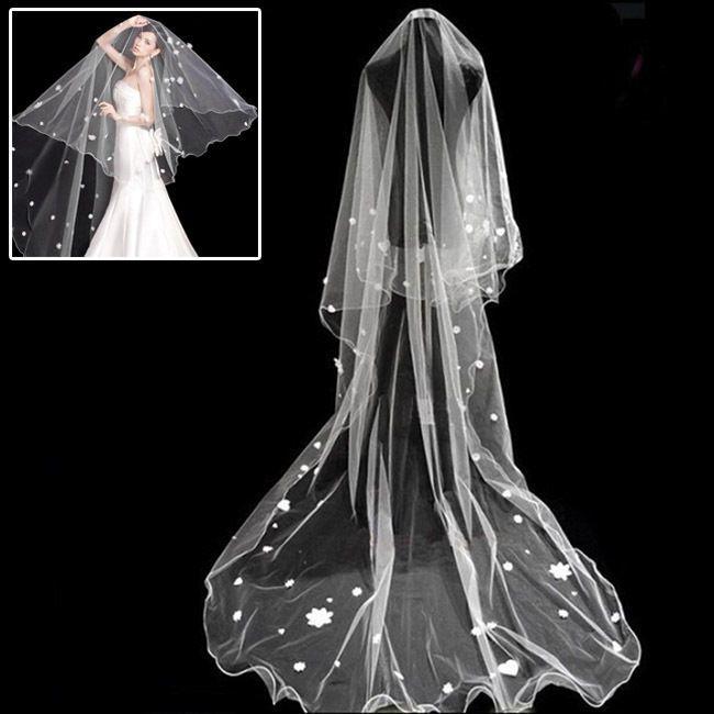 Bridal Veils Charm Appliques Mantilla Elegant Cathedral Wedding Dress Wraps