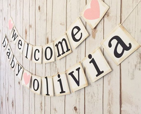 Welcome baby banner welcome baby sign baby by TheTangledTwine