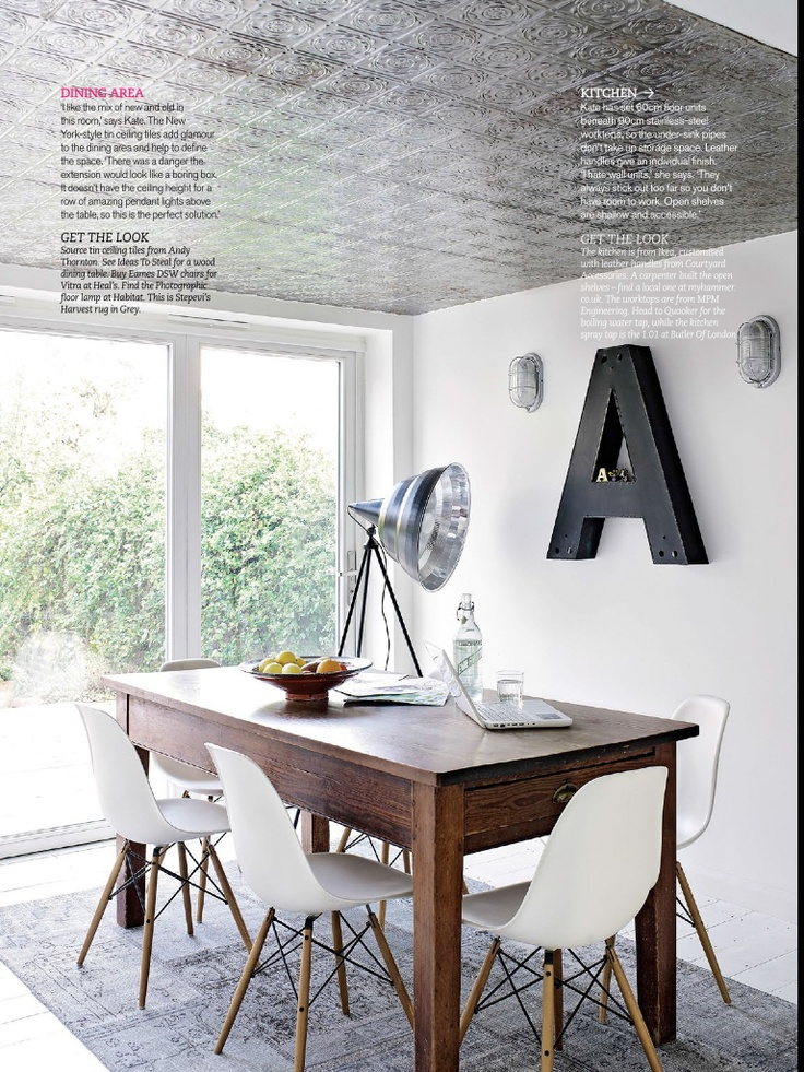 tin tiles above dining area?