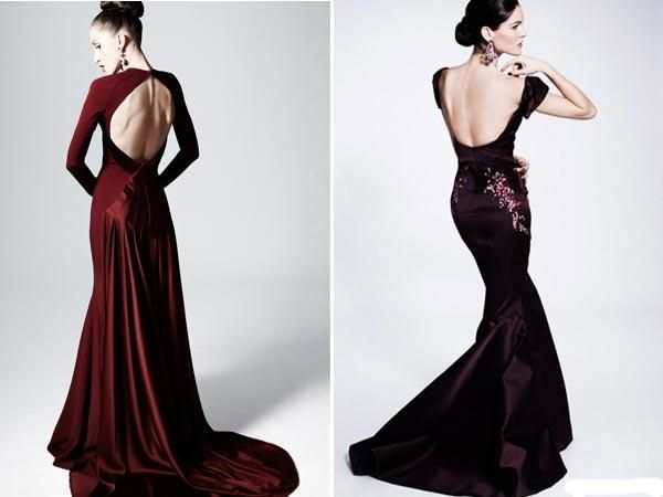 Черное платье с длинными рукавами и с открытой спиной