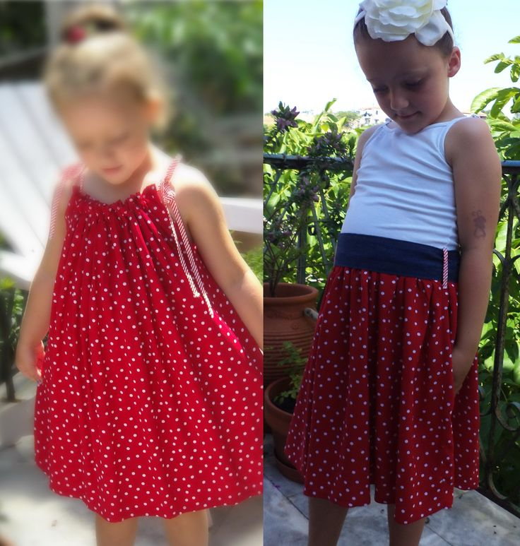 They grow so fast, but even their own clothes can follow up with a few changes. Here I basically just added the dress to a summer-top