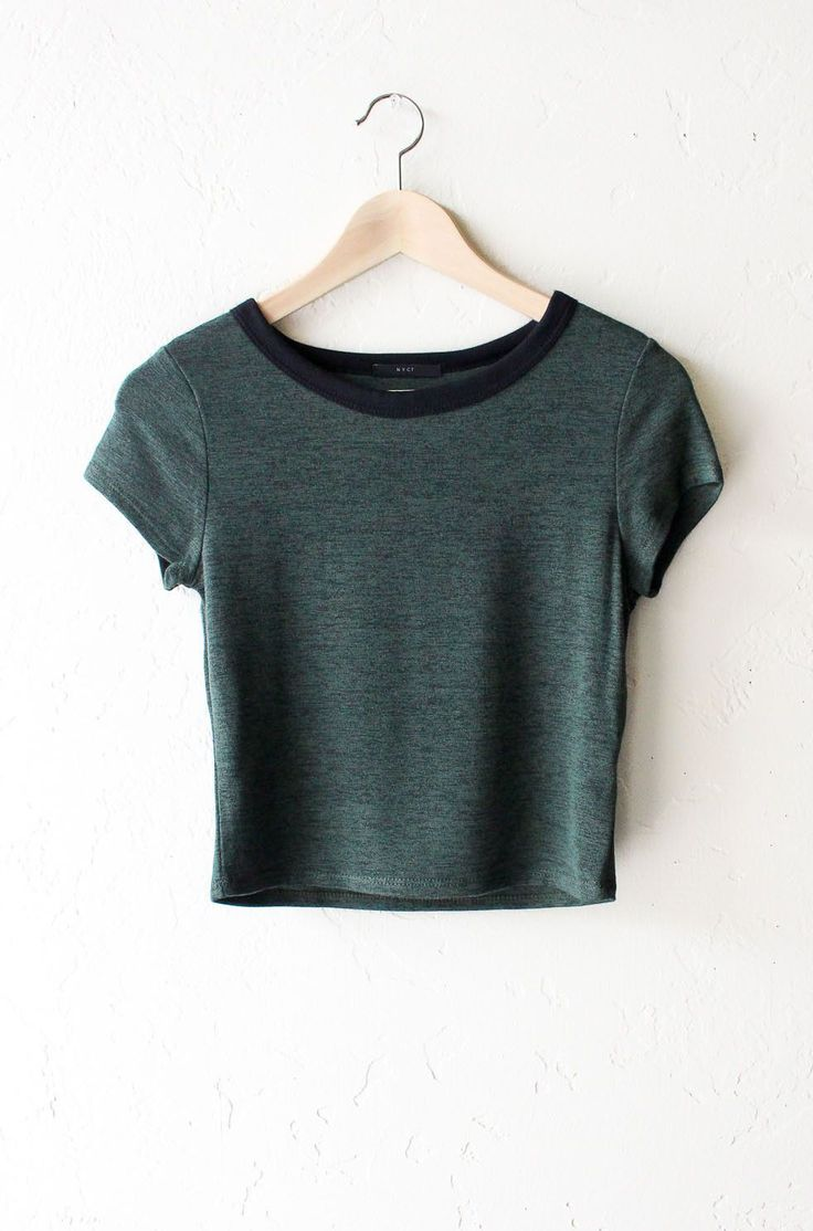 "- Description Details: Knit hacci cropper ringer tee in olive with black contrast collar band. Form fitting, tend to run on the smaller side & are more fitted. Measurements (Size Guide): S: 31"" bust,"