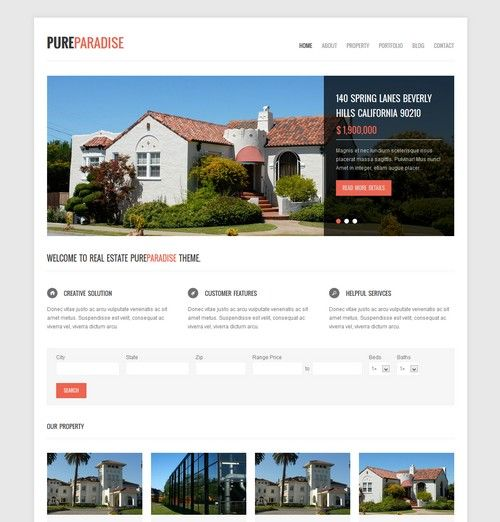 Pure Paradise - Clean Real Estate WordPress Theme