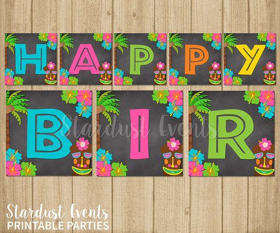 Luau Happy Birthday Banner Luau Birthday Banner Hawaiian
