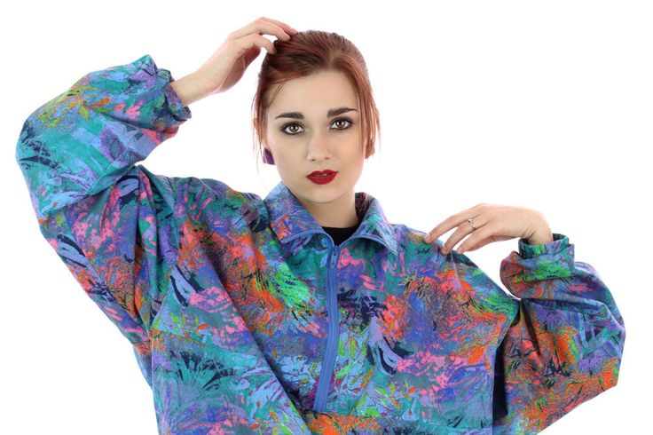 90s Neon  Pullover Windbreaker Jacket 80s Vintage Bright Surf Graffiti Paint Splatter Art 1980s 1990s Surfer Unisex Mens Womens XL by neonthreadsdesigns on Etsy