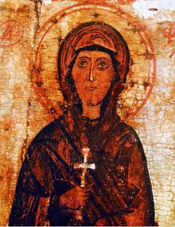 18-year-old Holy Protomartyr and Equal-to-the-Apostles Thecla of Iconium (1st cent. AD) refused to marry her wealthy fiance because she heard Apostle Paul's teachings. Sentenced to the stake, Christ appeared, extinguishing the flames with a downpour. Romans then unleashed wild animals and tried to trample her with oxen, but none would harm her. At the age of 90, pagan sorcerers were after Thecla, so she prayed and a hill opened, hiding her from attackers and commending her soul to the Lord.