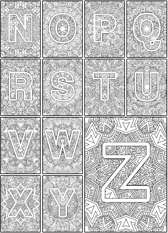 Alphabet Coloring Pages for Grown Ups   Color the Alphabet: Adult Coloring Book by Sarah Renae Clark www.sarahrenaeclark.com