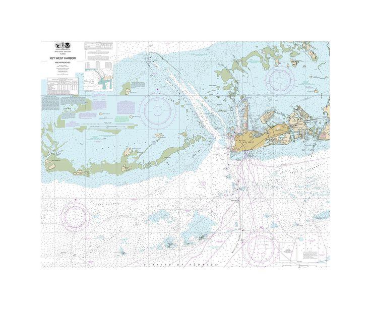 Key West Harbor And Approaches Nautical Chart Vinyl Print Key West Map Poster Prints Key West Decor