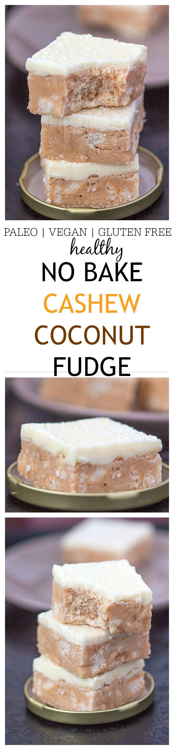 """Heathy {No Bake!} Cashew Coconut Fudge- The most delicious """"healthy"""" fudge you'll ever have based off cashew and coconut flavours- Paleo, vegan, dairy free and gluten free options, it's the perfect snack or after dinner treat with an optional protein boost! No baking required! @thebigmansworld - thebigmansworld.com"""