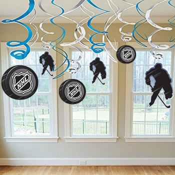 Guaranteed lowest priced NHL Danglers online! Our NHL Danglers feature an assortment of blue and silver foil swirls with hockey themed cutouts.