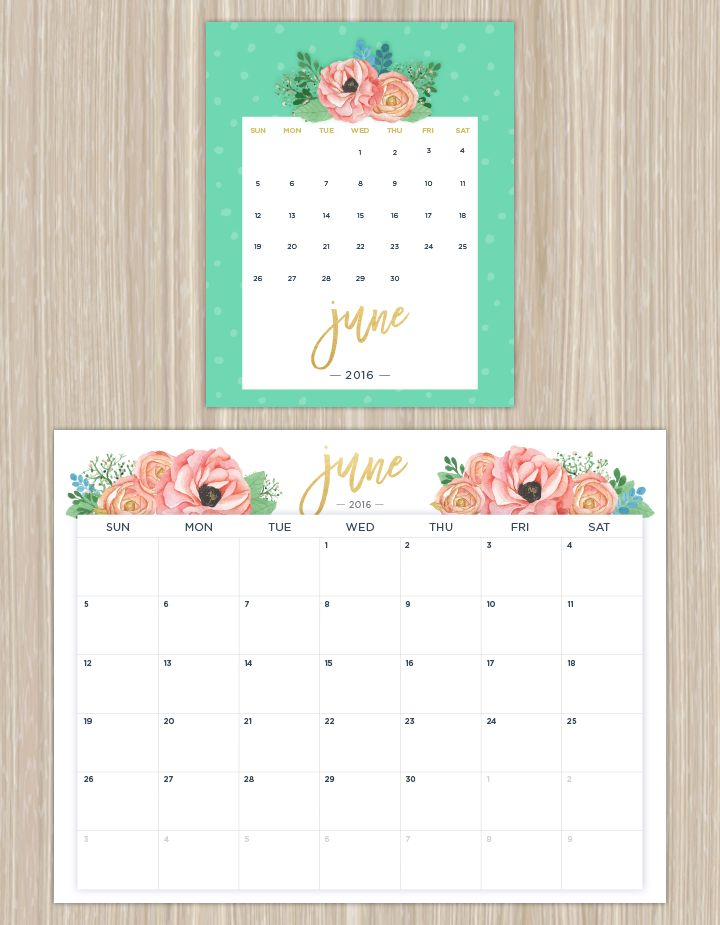 Printable Calendars for a More Floral 2016 - Fresh by FTD                                                                                                                                                      Más