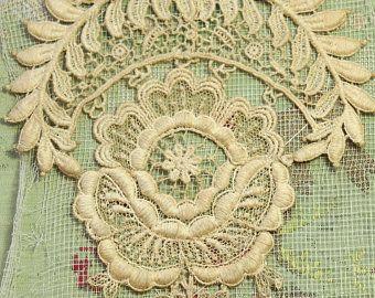 """1 cotone antico della guipure pizzo trim ecrù intricato sposa tulle bambole ribbonwork bene 4.5x5.5 """"profondo di età compresa tra 3-d elementi tulle applique"""