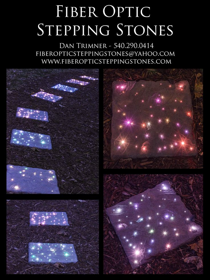 www.fiberopticsteppingstones.com Buy them on Ebay! Fiber optic stepping stones with LED lighting. Light your walkway at night with this unique beautiful lighting idea! Low voltage outside concrete virginia made product.