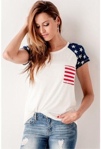 American Flag Baseball Tee // This baseball tee is perfect for the summer! We would wear this with shorts and sandals. // bohme.com