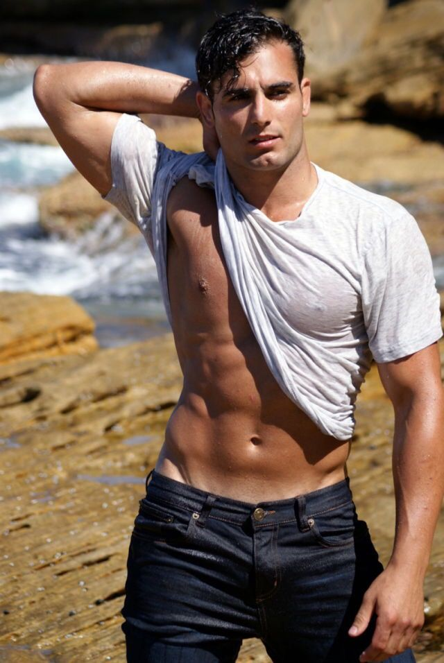 David Karamanis, Male Model, Good Looking, Beautiful Man, Guy, Handsome, Hot, Sexy, Eye Candy, Muscle, Abs, Six Pack, Shirtless, Wet 男性モデル