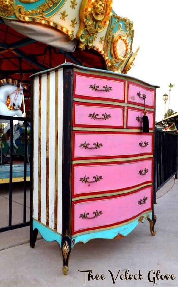 Pink, turquoise blue, black, white, gold striped, dresser