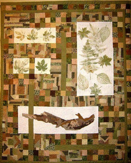 напечатанные листья в лоскутном полотне